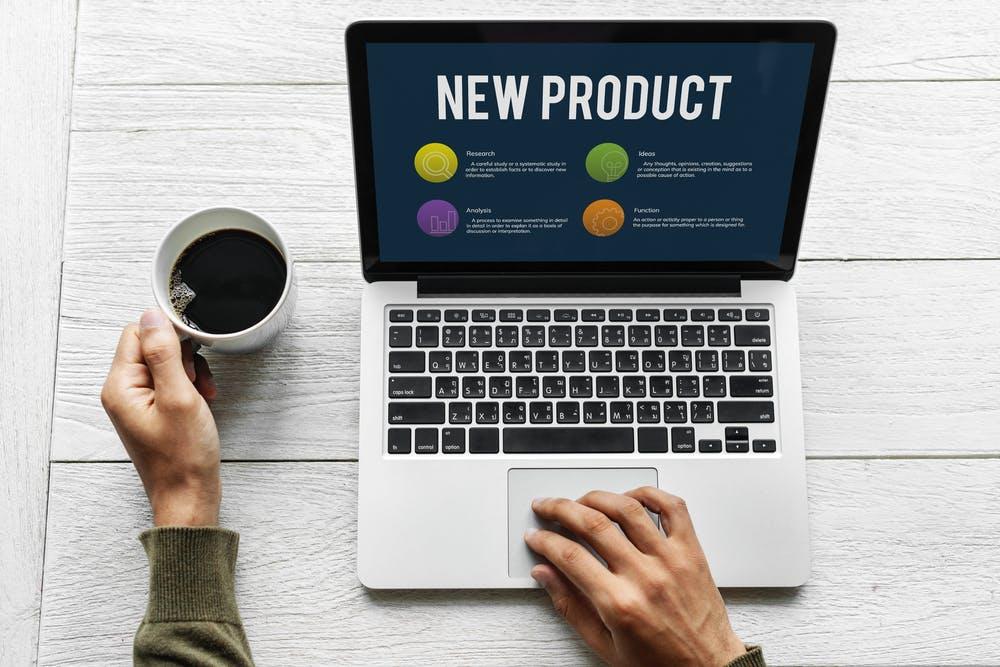 new product development on laptop
